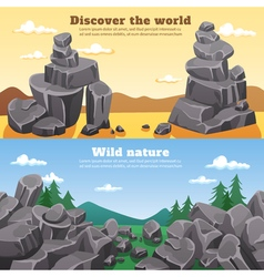 Rocks And Stones Horizontal Banners vector image