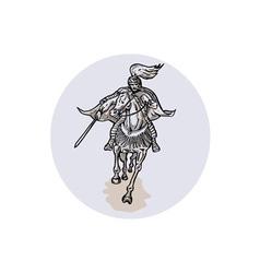Samurai Warrior With Katana Sword Horseback vector image