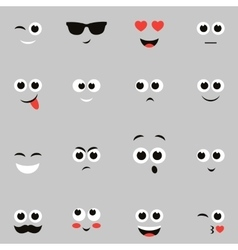 sketches of funny smiley faces vector image