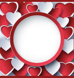 valentine round frame with 3d red heart vector image vector image