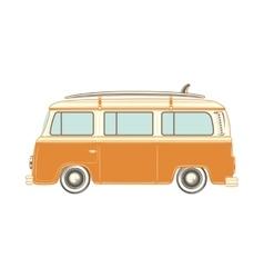 Camper van with surf board vector image