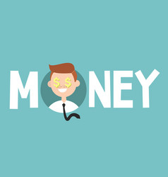 money sign concept young successful business man vector image vector image