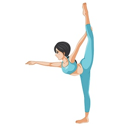 A girl stretching her body vector