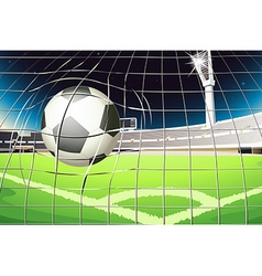 A net with a soccer ball vector image