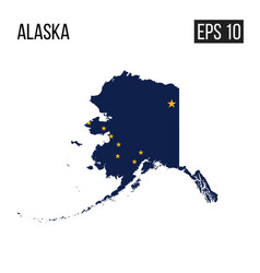 Alaska map border with flag eps10 vector