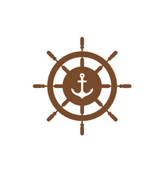 anchor wheel graphic design template vector image