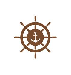 anchor wheel graphic design template vector image
