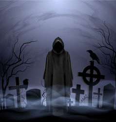 Angel of death in the cemetery vector