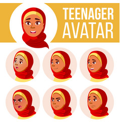 arab muslim teen girl avatar set hijab vector image