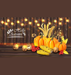 autumn harvest card realistic with pumpkin vector image
