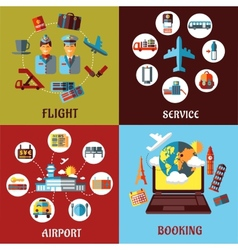 Aviation airport and travel concept flat designs vector image
