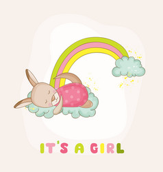 baby kangaroo girl sleeping on a rainbow vector image