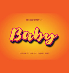 baby text effect editable text vector image