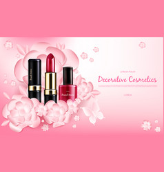 Banner with a female collection of makeup vector
