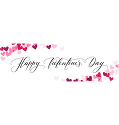 Banner with hearts and happy valentines day hand vector