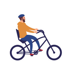 bearded man in helmet riding stylish chopper vector image