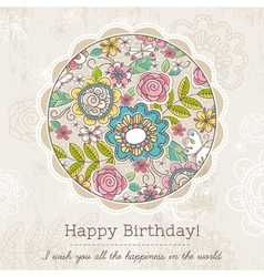 Birthday card with big round of spring flowers vector image