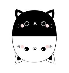 black white cat set head face line contour vector image