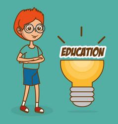 boy with creative idea bulb vector image