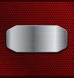 Brushed metal plate on red perforated background vector