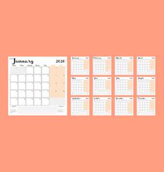 Calendar 2020 monthly calendar planner printable vector