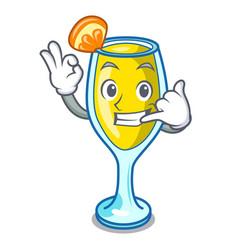Call me mimosa mascot cartoon style vector