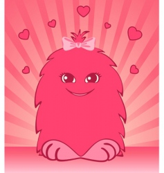 cartoon animal with hearts vector image