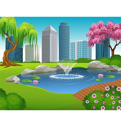 Cartoon of City Park and Skyscrapers vector