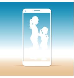 Children on smartphone vector