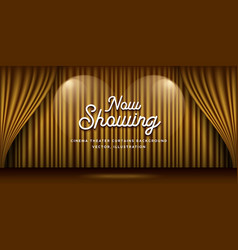Cinema theater curtains gold and lighting banner vector