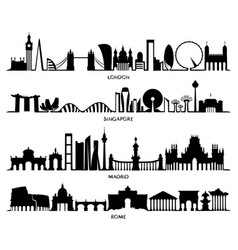 city silhouette london singapore madrid rome vector image