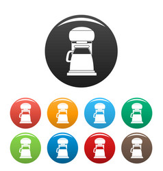 Classic coffee machine icons set color vector