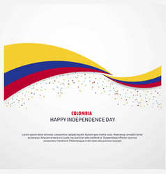 Colombia happy independence day background vector