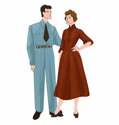 Couple man and woman wearing retro clothes vector