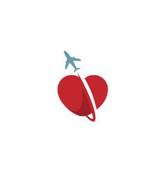 creative heart aircraft symbol logo vector image