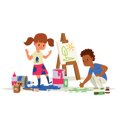 Creative kids banner girl and vector