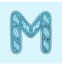 Cute letter M Floral monogram M vector image