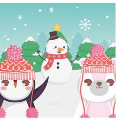 Cute polar bear snowman and penguin trees merry vector