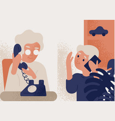 cute smiling old lady talking on phone to little vector image