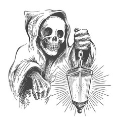 death in a hood with lantern vector image