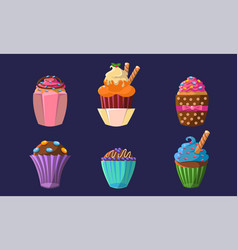 delicious cupcakes set colorful sweet creamy vector image