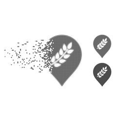 Disintegrating pixel halftone rice plantation vector
