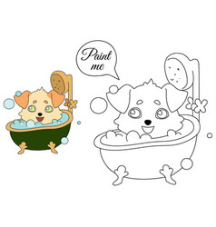 dog with hanging ears washes in a retro bathtub vector image