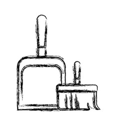 Dustpan and hand broom in monochrome blurred vector