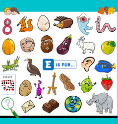 E is for educational game for children vector