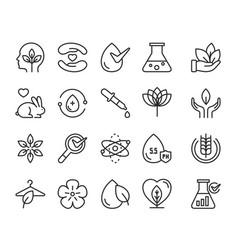 Eco cosmetics thin black line icon set symbols vector