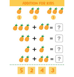Educational math children game addition with pine vector