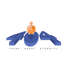 error 404 buddha meditating think about eternity vector image