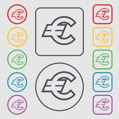 Euro EUR icon sign symbol on the Round and square vector image