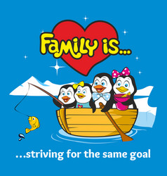 Family of penguins vector
